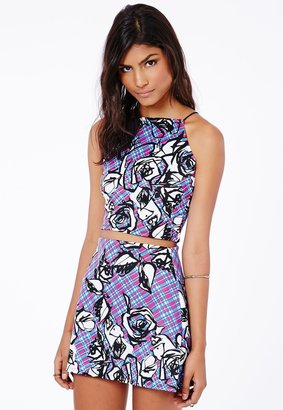 Missguided Iona Spaghetti Strap Abstract Floral Crop Top