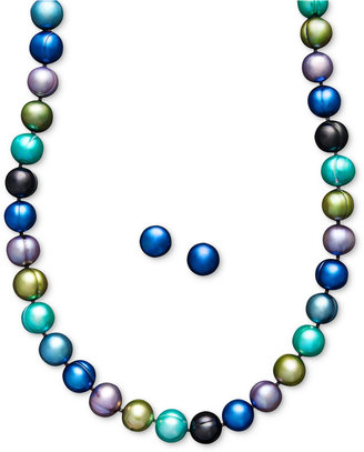 Honora Fresh by Pearl Jewelry Set, Sterling Silver Multicolor Peacock Cultured Freshwater Pearl Necklace and Stud Earrings Set (8-9mm)