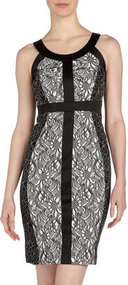 Jax Lace Colorblock Dress, Ivory/Black