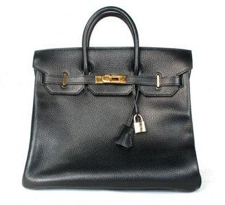 Hermes very good (VG Black Ardennes Leather 32cm HAC Birkin Bag with Gold Hardware