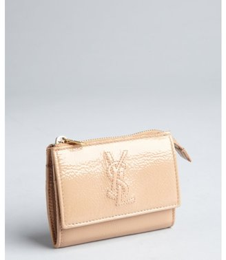 Yves Saint Laurent nude patent leather zip card and coin wallet