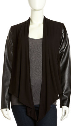 Neiman Marcus Faux-Leather and Jersey Draped Cardigan, Black