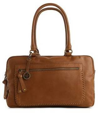 Audrey Brooke Triple Entry Leather Whipstitch Satchel