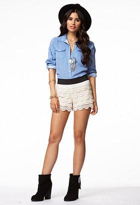 Forever 21 Flap Pocket Chambray Shirt