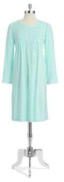 Miss Elaine Petite Long Sleeved Geo Print Night Gown