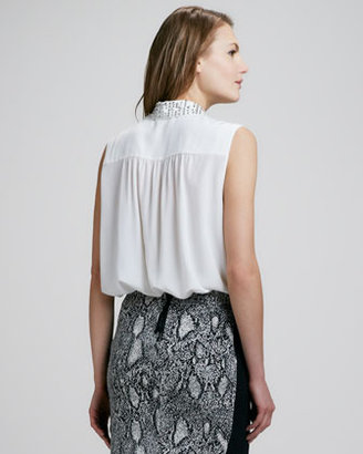 Rebecca Taylor Bead-Collar Silk Blouse