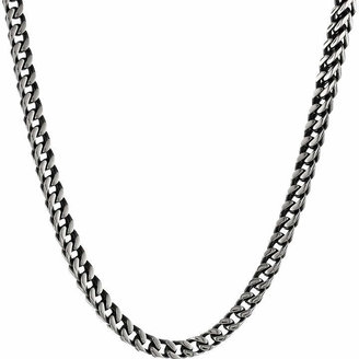 FINE JEWELRY Mens Antique Finish Stainless Steel & Black IP Foxtail Chain