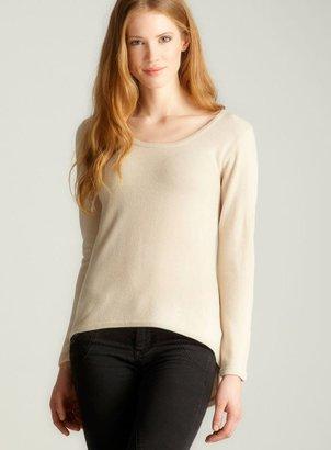 Sweet Romeo Hi-Lo Scoop Neck Sweater, Off White