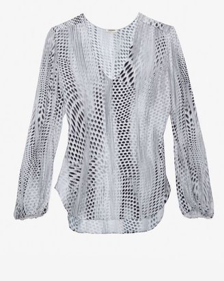 L'Agence Exclusive Pullover Silk Print Blouse