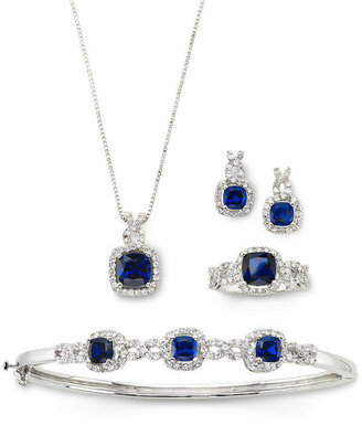 JCPenney FINE JEWELRY Lab-Created Blue Sapphire & Cubic Zirconia 4-pc. Set