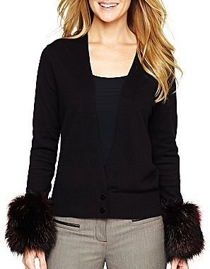 JCPenney Worthington® Knit Cardigan with Faux Fur Cuffs