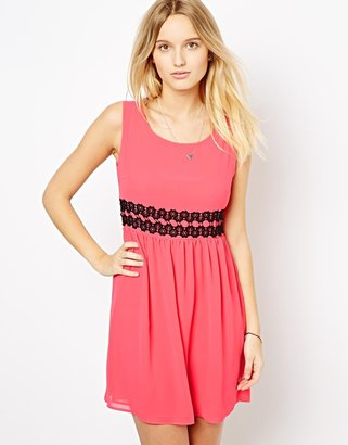 Love Skater Dress with Lace Waist - Pink