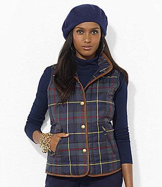 Lauren Ralph Lauren Leather-Trimmed Plaid Vest
