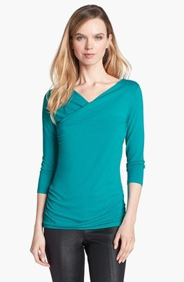 Vince Camuto High Wrap Side Ruched Top (Regular & Petite) (Online Only)