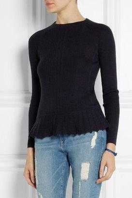 Tory Burch Sienna silk and cashmere-blend peplum sweater