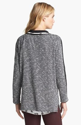 Vince Camuto Two by Faux Leather Stripe Sweatshirt