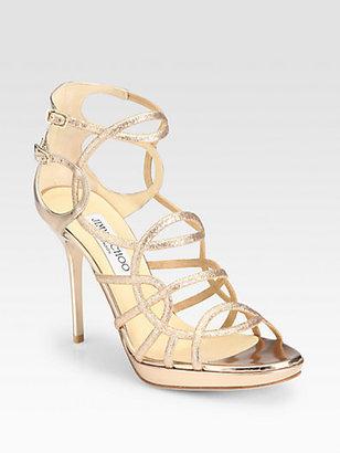 Jimmy Choo Bode Glitter Platform Sandals