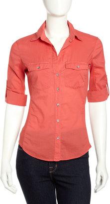 James Perse Ribbed Panel Shirt, Sunfire