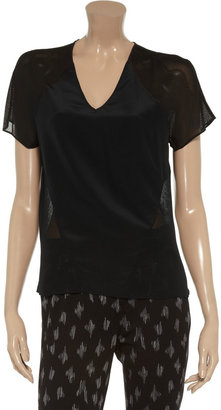 Alexander Wang Mesh and silk-satin top