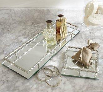 Pottery Barn Mirrored Braided Dresser-Top Trays