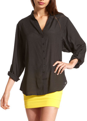 Charlotte Russe Button-Down Crepe Blouse