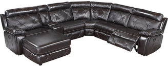 Cindy Crawford Home Wilshire Place Black Cherry Leather 6 Pc Sectional