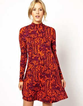 Asos Swing Dress With Polo Neck In Red Paisley - Red