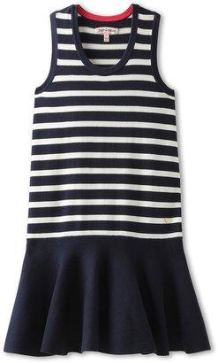 Juicy Couture Striped Flounce Dress (Toddler/Little Kids/Big Kids) (Regal/Angel Stripe) - Apparel