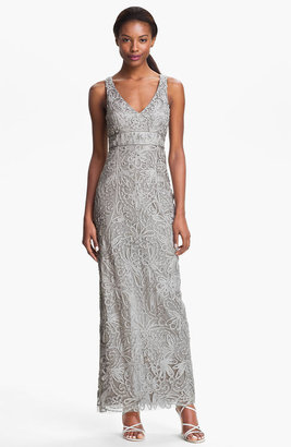 Sue Wong V-Neck Embroidery & Bead Overlay Gown