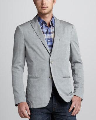 John Varvatos Soft Peak-Lapel Blazer, Gray