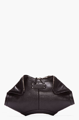 Alexander McQueen Black Leather De Manta City Clutch