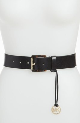 MICHAEL Michael Kors Logo Charm Leather Belt