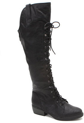 Qupid Knee High Lace Up Boots