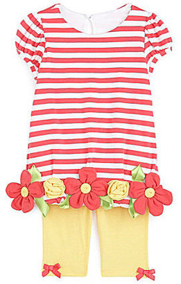 Bonnie Baby 3-24 Months Roll-Flower-Accented Striped Knit Dress & Solid Pant Set