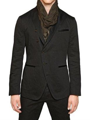 John Varvatos Cotton Blend Canvas Asymmetric Jacket