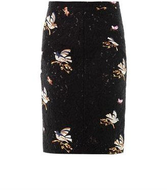 No.21 No. 21 Bird embroidered lace skirt