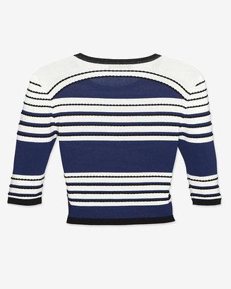 Ohne Titel Striped Curved Hem Jersey Knit Crop Top