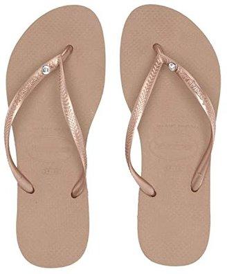 Havaianas Slim Crystal Glamour SW Flip Flops (Black) Women's Sandals