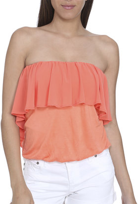 Arden B Chiffon Bubble Hem Tube Top