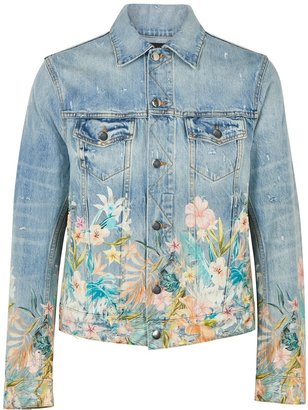 Amiri Blue Floral-print Denim Jacket