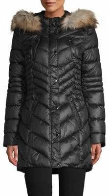 Laundry by Shelli Segal Faux-Fur Trim Hooded Parka