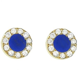 Jennifer Meyer Diamond Lapis Inlay Circle Stud Earrings - Yellow Gold