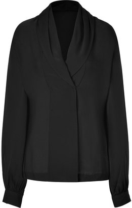Rachel Zoe Black Sheer Stretch Silk Astor Top