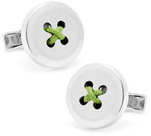 Ravi Ratan Round Button Cuff Links, Green