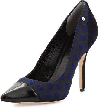 Rachel Roy Arrow Polka Dot Pointy-Toe Pump, Black/Blue