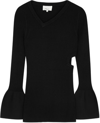 3.1 Phillip Lim Black Cut-out Ribbed-knit Jumper