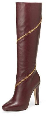 Diane von Furstenberg Cambria Zip Around Leather Boot In Deep Cherry Calf