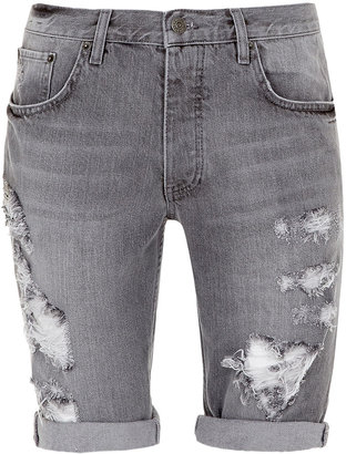 Topman Mid Grey Washed Ripped Shorts