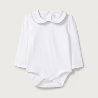 The White Company Sparkle Trim Collared Bodysuit, White, 3-6mths