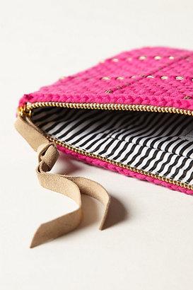 Anthropologie Metallic Weave Clutch